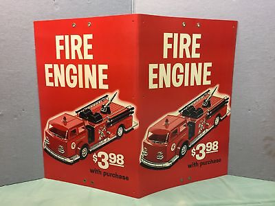 NOS 1962 Texaco Buddy L fire engine truck advertising sign/poster gas station