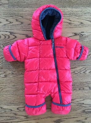 Infant Baby Columbia One Piece Snow Suit Bunting Size 0-3 Months Red