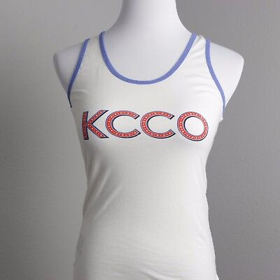Womens M KCCO Tank Top Red Blue Print Chive Tee Scoop Neck Sleeveless T Shirt