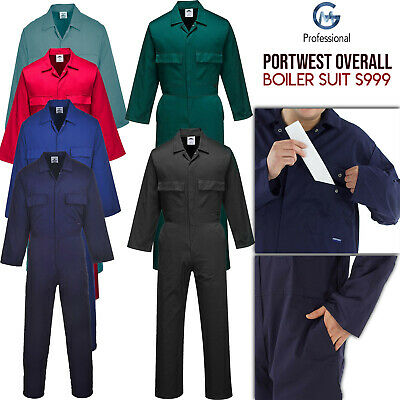 Euro Work Polycotton Coverall Overall Mechanic Builder Boiler Suit Portwest S999