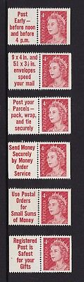 1966 4c Red QE2 full set of 6 booklet Tabs/stamp pairs, MUH