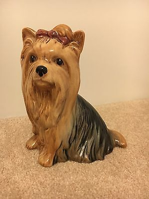 SYLVAC Seated Yorkshire Terrier With Long Hair And A Bow - Great Condition '5027