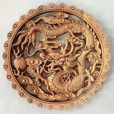 Hand Work Old Effect Xiang Zhang Sculptor Wood Carving Dragon Wall Panel Nr 02