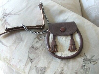Child's Leather / Sealskin Sporran C0Mplete With Belt/ Made In Scotland