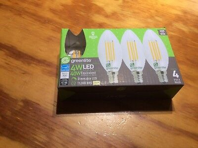 4 pack NEW B10 LED 4W  E 4 CANDELABRA  WARM WHITE by GREENLITE