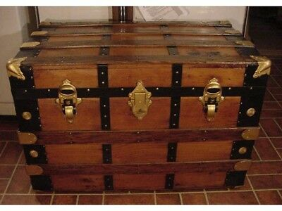 Ladycomet Refinished Victorian Flat Top Steamer Trunk Antique Chest w/Key