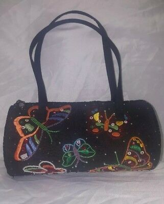 ERMO Black Beaded Butterfly Purse