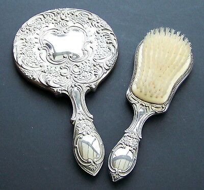 Vintage 19th Century Silver Plated 2 Piece Dressing Table Set Brush & Mirror
