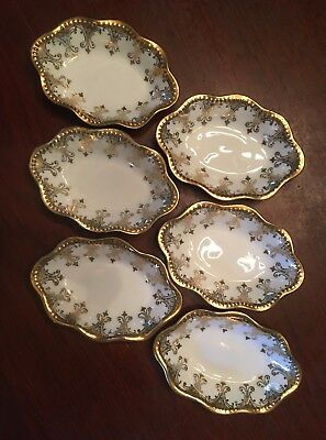 Lot Of 6 CS PRUSSIA Gold Embossed Trimmed ANTIQUE Small Porcelain Dishes