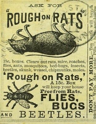1870's-80's Rough On Rats Flies Bugs & Beetles Victorian Trade Card P71