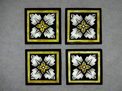 Beautiful Stained glass.FLOWERS.Hand painted.Kiln fired.75 x 75 mm. New. 4 p-s.