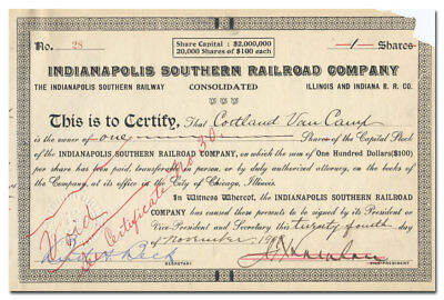Indianapolis Southern Railroad Company (Consolidated) Stock Certificate