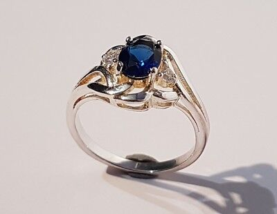 BEAUTIFUL silver tone sapphire blue & clear stone ring. Metal detecting find