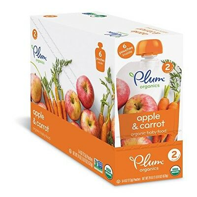 Plum Organics Stage 2, Organic Baby Food, Apple & Carrot, 12-4oz. Pouch 05/18