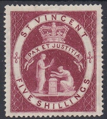 St Vincent 1885 Peace And Justice 5/- Wmk Crown Ca