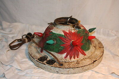 Vintage 1927 NOMA Cast Iron POINSETTIA Christmas Tree Stand Mica Snow Painted