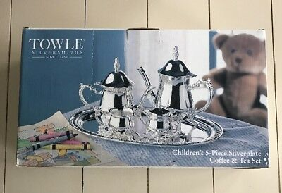New In Box Towle Silversmith Silverplate Children's 5 piece Coffee &Tea Set