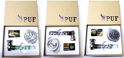SMOKING GIFT SET 3 PART HERB METAL GRINDER WITH SMOKING PIPE, BONGS Smoking kit