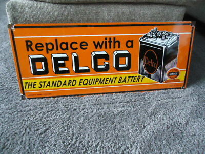 Vintage Delco Battery Porcelain Gas Service Station Sign (Dated 1949)  24""