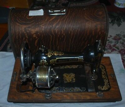VINTAGE SEWING MACHINE With Case Oval RARE ANTIQUE WESTERN ELECTRIC WOODEN