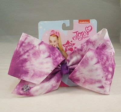 JOJO SIWA Hair Bow White & Purple Dye Authentic Girls Bows Cheer Nickelodeon