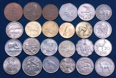 """20 Large Coins With Images of Animals, Approx. 1"""" and Larger"""