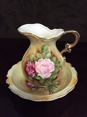 Beautiful Vintage Artmark Hand Painted Pitcher & Bowl Rose Foral Japan