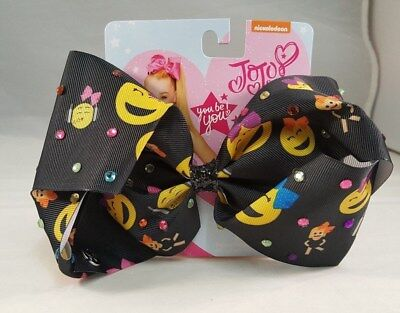 JOJO SIWA Hair Bow Emoji Black Multi Colors Authentic Girls Bows Cheer