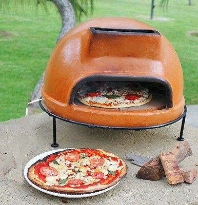 "XXL Pizza Oven Rustic Liso Clay Wood Taste 10"" Pizza Patio Garden Cook Backyard"