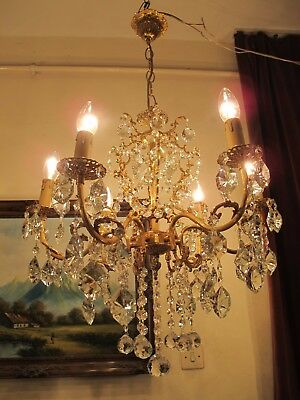 Antique RARE Large French 6 arms BOHEMIA Crystal Chandelier Lamp 1940's 22 in
