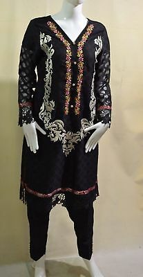 Beautiful Fancy Black Shalwar Kameez Emb Size L Chest 21.5 Inches