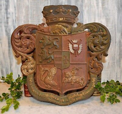 Antique Cast Iron German Armorial Crest Coat of Arms Heraldic Crown Shield Lions