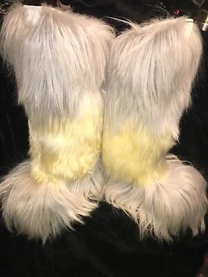 Winter Is Coming! Vintage Roluc Over The Knee Multicolored Goat Hair Boots 39/40