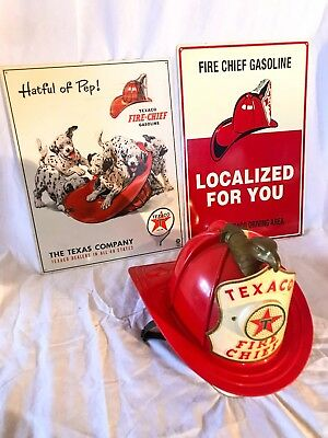 1960's Texaco Fire Chief Collection - Antique Tin Sign - RARE - Toy Hat Helmet