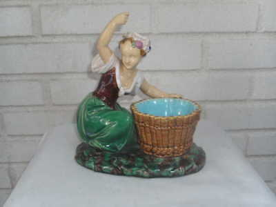 Outstanding Antique Minton Majolica Figural Art Pottery Lady Posy Holder Basket