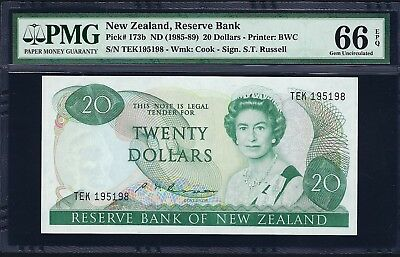New Zealand ND (1985-89) P-173b PMG Gem UNC 66 EPQ 20 Dollars (Russell)