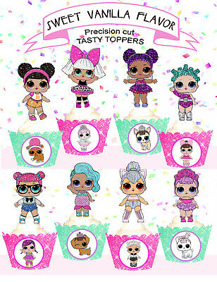LOL DOLLS doll series Birthday Party Cupcake Toppers  Edible PRE-CUT cup cake