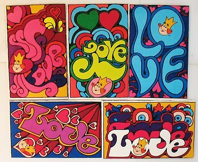 VTG 1972 BURGER KING LOVE Psychedelic Hippie Postcards WHERE KIDS ARE KING
