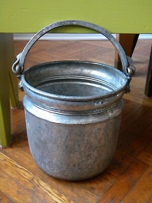 Heavy Antique metal pail bucket with handle brass tin copper primitive
