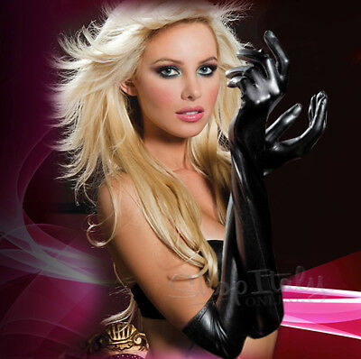 Guanti Sexy Long Latex PVC Gloves Black Fetish Clubwear Catsuit Cosplay Costume