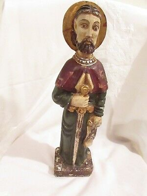 "Large 15"" Wood Carved Gilt Gold Hand Painted Icon Statue St Saint Sant Yago"