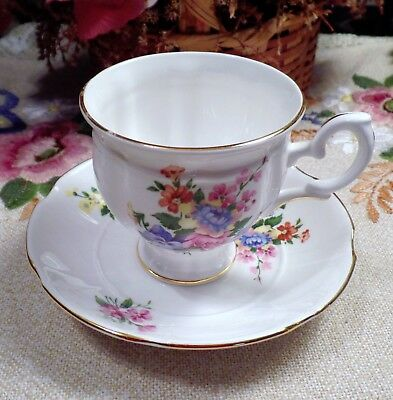 Crown Staffordshire  Fine Bone China Floral Design Footed Cup & Saucer England
