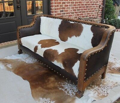 Antique American Empire Oak Cowhide & Leather Sofa Couch Settee Western Ranch