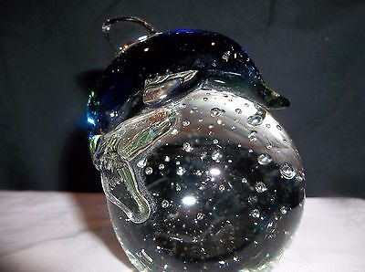 Glass Paperweight Colored Dolphin on Clear Bubbled Glass Ball for Table Top