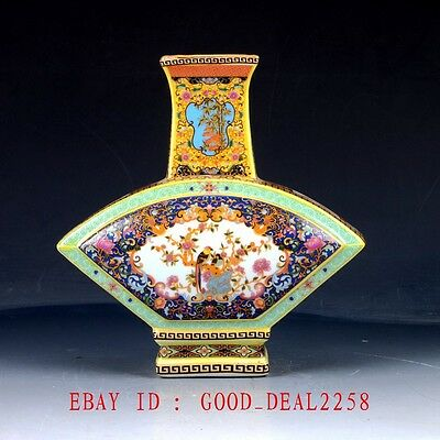 Vintage Chinese Cloisonne Porcelain Hand-Painted Vase With Yongzheng Mark