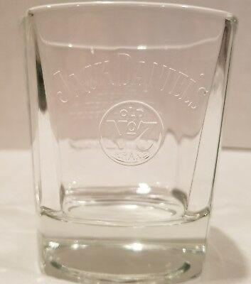 Jack Daniels Old No7 Brand Heavy Square Bottom Rock Glass Embossed Logo & Quote