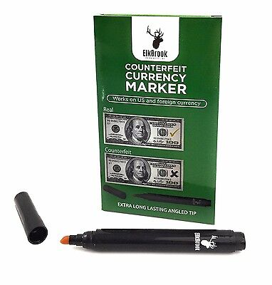 Counterfeit Currency Marker - 12 Pack / Works on US and foreign currency