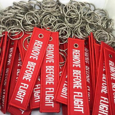 1X Red Goody Remove Before Flight Embroidered Canvas Luggage Tag Label Key Chain