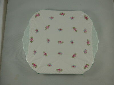 Shelley England ROSEBUD Fine Bone China  Square Handled Cake/Serving Plate