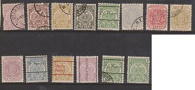 (K57-4) 1885 Transvale part 14set 1/2d to 1/- (some doubles & O/Ps) (D)